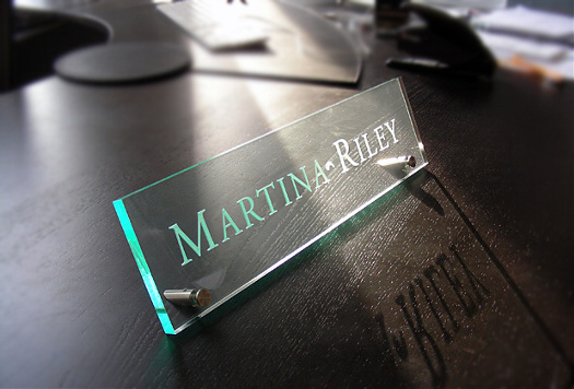 glass engraved sign